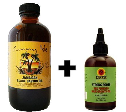 Sunny Isle Jamaican Black Castor Oil 8 Oz & Strong Roots Red Pimento Hair Growth Oil 4 Oz WITH FREE APPLICATOR!!!