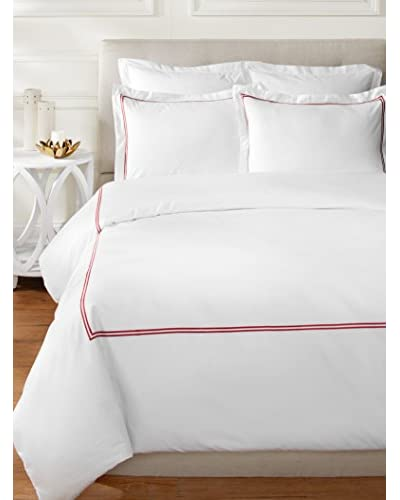 Mélange Home Embroidered Egyptian Cotton Striped Duvet Set