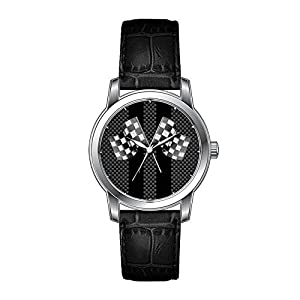 AMS Christmas Gift Watch Women's Vintage Design Leather Black Band Wrist Watch Classic Racing Flags Stripes in Carbon Fiber Style Wrist Watches