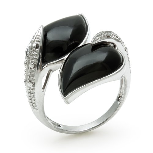 Sterling Silver Wrap Ring with Leaf Shaped Onyx Gemstones, Free Shipping and Gift Box