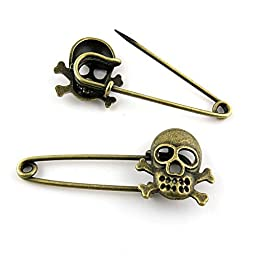 Price per 40 Pieces Fashion Jewelry Making Charms Findings Arts Crafts Beading Antique Bronze Tone 18276 Pirate Skull Safety Pins Brooch