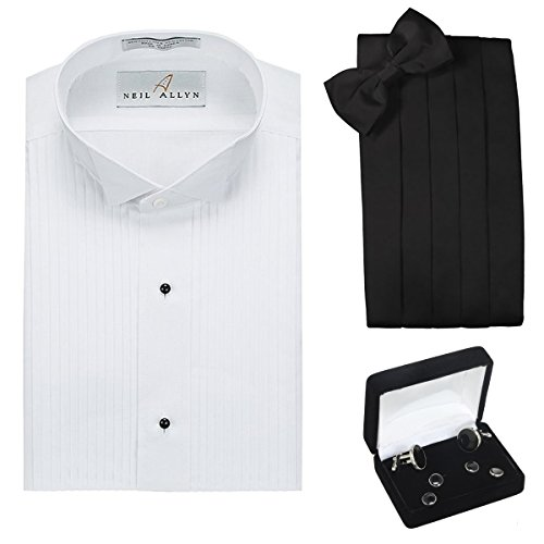Tuxedo Shirt, Cummerbund, Bow Tie, Cufflink & Studs Set - Wing Collar, 2XL (18-18.5