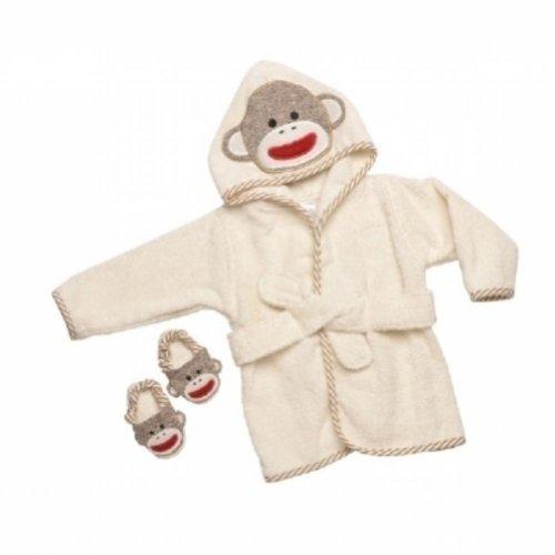 Sock Monkey Hooded Bath Robe Towel & Slipper Gift Set (0-9 Months)