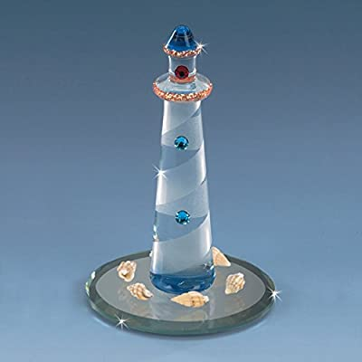 (DC) Collectible Crystal Miniature Lighthouse Cove Figurine Seagulls Spiral BLUE Mirror Base Decorative Gift Box