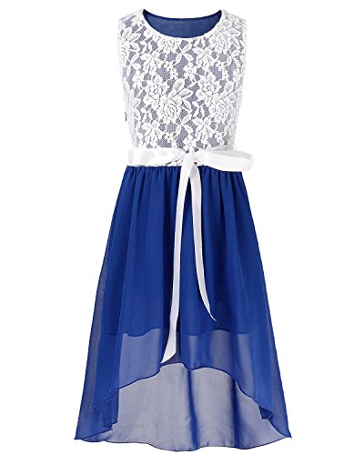FEESHOW Kids Big Girls Lace Flower High Low Chiffon Bridesmaid Dress Dance Party Blue 12