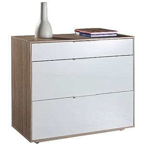 Cassettiera base mobile tre cassetti rovere laccato bianco for Cassettiera amazon