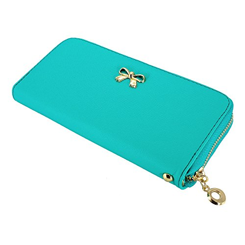 GEARONIC TM New Fashion Lady Bow-Tie Zipper Around Women Clutch Leather Long Wallet Card Holder Case Purse Handbag Bag - Light Blue (Target Wallet compare prices)
