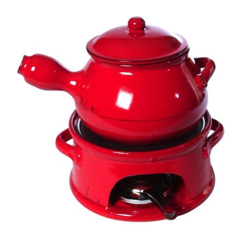Mamma Ro 1-1/2-Quart Fondue Set, Red