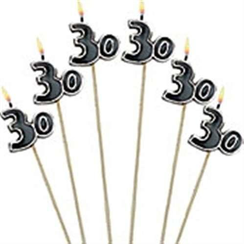 30th Birthday Candles - Cake Decoration Candle