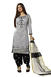 Meghali Women's Cotton Unstitched Salwar Suit (MGBD14D05_Grey Black_Free Size)