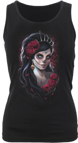 Spiral - Womens - Day Of The Dead - Razor Back Top Black - S