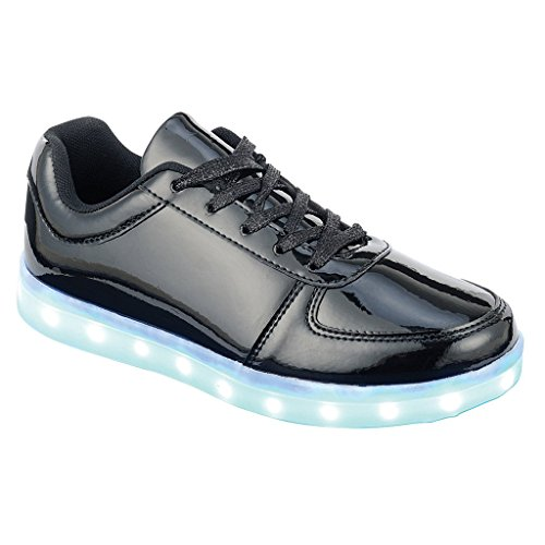 Coshare Women's Fashion USB Charging LED Light Up Rave Flashing Sneakers, Black, 7.5 M US