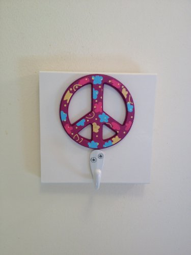 Purple Peace Sign Single Wall Hook Girls Bedroom Peace Wall Decor Teen Room Decor front-401238