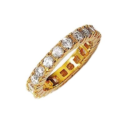Ladies 18K Gold Plated Cubic Zirconia Full Eternity Ring