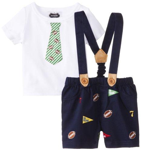 Mud Pie Baby-Boys Newborn Football Suspender And Short Set, Blue/White, 0-6 Months front-521381