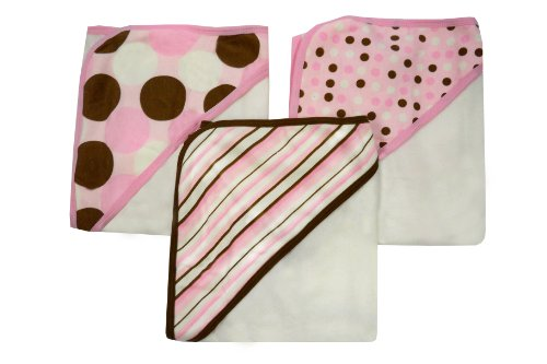 Neat Solutions 3 Pack Printed Interlock/ Knit Terry Hooded Towel Set, Girl