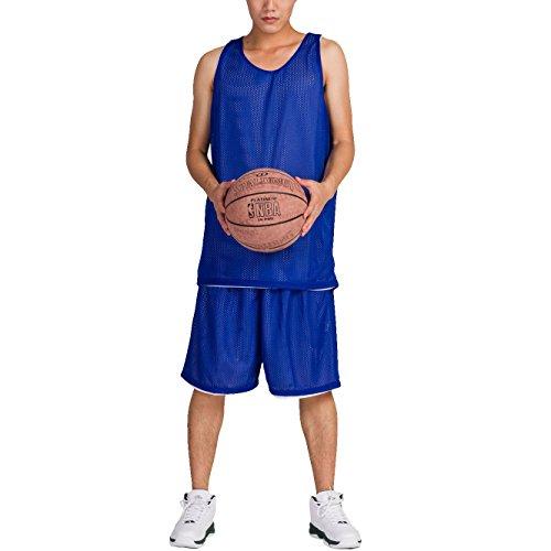 HOEREV Uomo reversibile Sport basket pantaloncini e magliette, senza tasche
