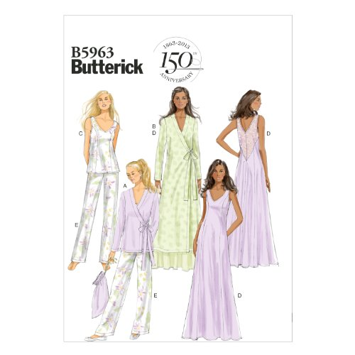 Butterick Patterns B5963 Misses' Robe, Top, Gown, Pants and Bag Sewing Templates, Size E5 (14-16-18-20-22), 14-16-18-20-22