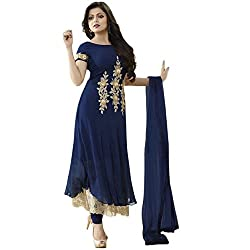 Latest Wize Stylish And Elegant Georgette Straight Anarkali Style Embroidered Dress Material