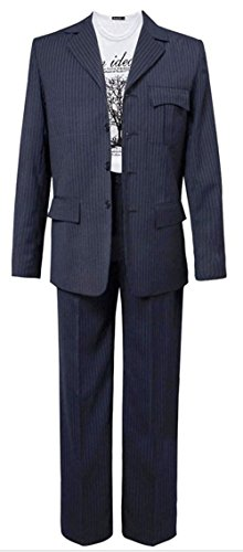 Small Monkey Doctor Who Doctor Dark Blue Pinstripe Suit Halloween Cosplay Costume (US Man M) (Halloween Costumes Dr Who)