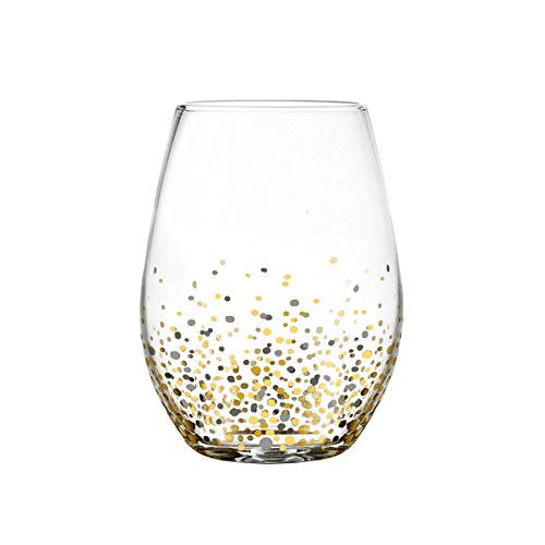 Fitz Floyd Confetti Black and Gold Stemless Glasses (Pack of 4) (Juice Glasses Black compare prices)