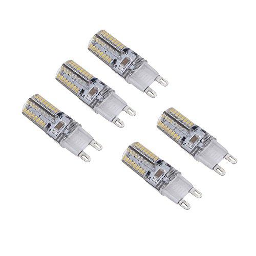 Kkmoon 5Pcs Mini G9 Led Light 3W 3014 Smd 64 Leds Crystal Corn Bulb Lamp Energy Saving White 360 Degree 220-240V
