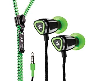 Zipbuds JUICED In-Ear Earbuds with Tangle Free Zipper Cabling (Green) (Discontinued by Manufacturer)