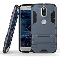 Enflamo Heavy Duty Hard Back Hybrid Cover Case For Motorola Moto G G4 Plus, 4th Gen (Gun Gray)