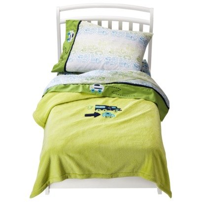 Zutano Blue Truck Car Traffic Toddler 4 Piece Bedding Set