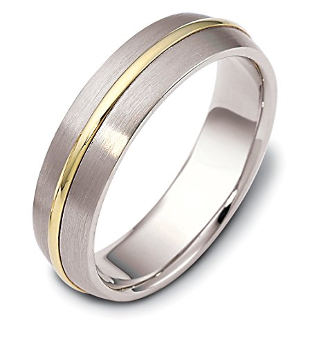 Where To Buy Mens 14K Two Tone Gold Classic Modern 6MM Wedding Band