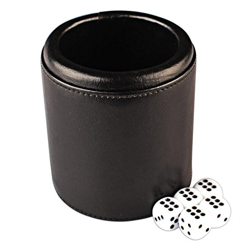 Premium Padded Black Leatherette Dice Cup Set w/ 5 Dice