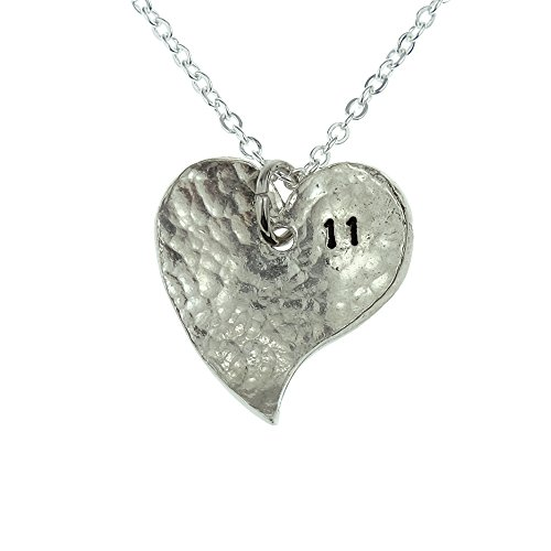 11th Year Anniversary Heart Necklace - Great 11th Anniversary Gift for Your Wife