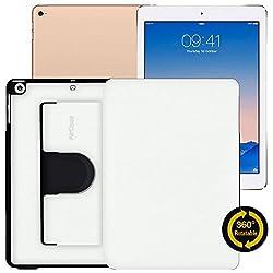 AirCase Premium Leather 360 Degree Rotatable Slim Portfolio Case for Apple iPad Air [PEARL WHITE]