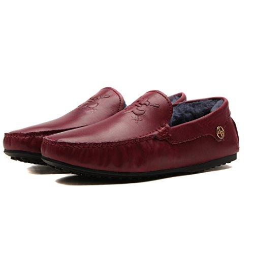 OPP Chaussures en Cuir Bateau Fourrée Mode Loafer Chaudes Hommes
