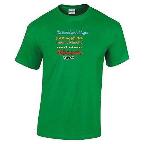 Divertente 035, Born To Be Wild, Irish Green Gildan Heavy Cotton Youth T-shirt Verde Bambino Ragazze Maglietta Kids Girls Tee Top con Design Colorato. Taglia X-Large, 12-14 Anni.
