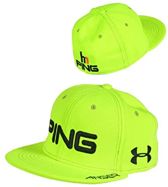Ping Golf Hunter Mahan Flat Bill Cap Hat Under Armour Yellow L/XL