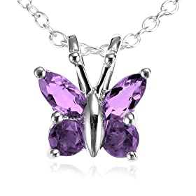 "Sterling Silver Amethyst Butterfly Pendant, 18"" from amazon.com"