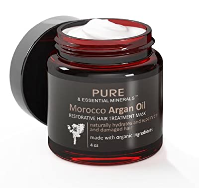 Pure & Essential Minerals Morocco Argan Oil Restorative Hair Treatment Mask for Dry and Damaged Hair, 4 oz. with Restoring Damaged Hair Naturally eBook