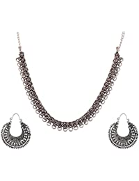 Ganapathy Gems Silver Metal Strand Necklace Set For Women (GPJC36)