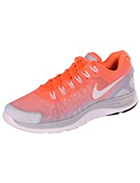 Nike Men's Lunarglide+ 4 Breathe Running Shoes-Orange/White/Gray-10