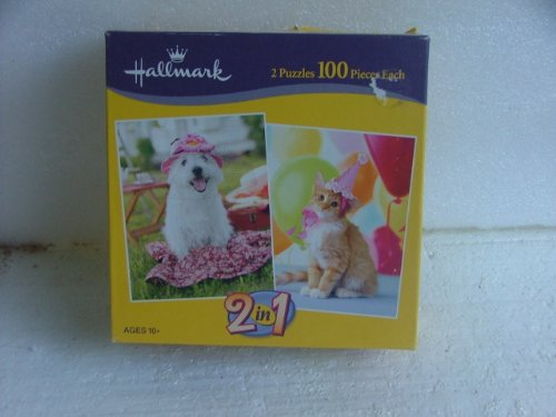 Hallmak 2 Puzzle Pack 100 Piece Each. 1 of Dog & 1 of Cat. - 1