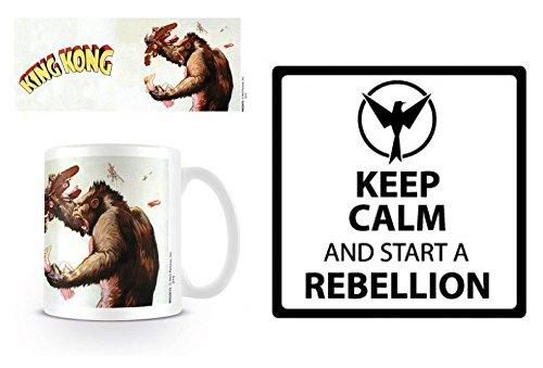 Set: King Kong, Building Tazza Da Caffè Mug (9x8 cm) E 1 Umore, Sticker Adesivo (9x9 cm)