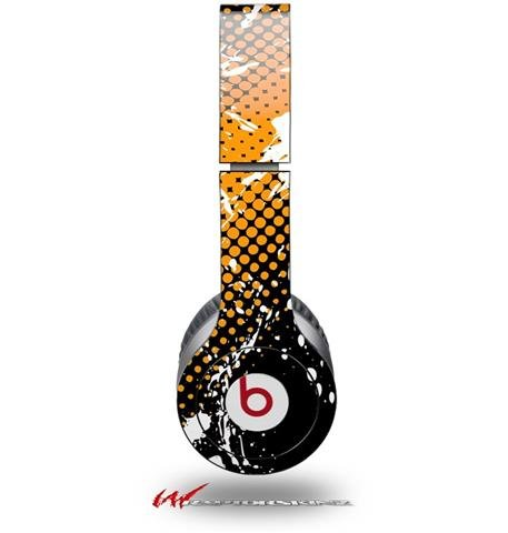 Halftone Splatter White Orange Decal Style Skin (Fits Genuine Beats Solo Hd Headphones - Headphones Not Included)