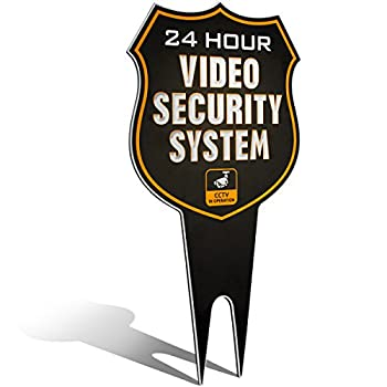 Warning 24 Hour Video Surveillance Security Camera System in Operation Metal Yard Sign | Stylish Laser Cut SHIELD Design | Heavy Duty 1/8