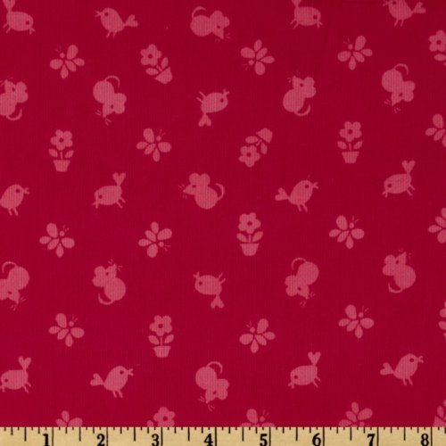 44'' Wide Timeless Treasures Flower Power 21 Wale Corduroy Tonal Birds & Mice Pink Fabric By The Yard