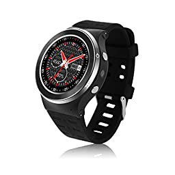 YIDA SW309 Quad Core Smart Watch Phone Android5.1 WCDMA 3G WIFI Full Round Touch Screen Bluetooth 4.0 Pedometer Heart Rate Hands Free Call (Black)
