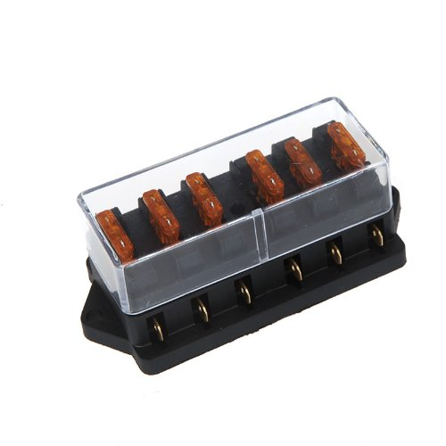 Docooler Universal Car Truck Vehicle 6 Way Circuit Automotive Middle-sized Blade Fuse Box Block Holder
