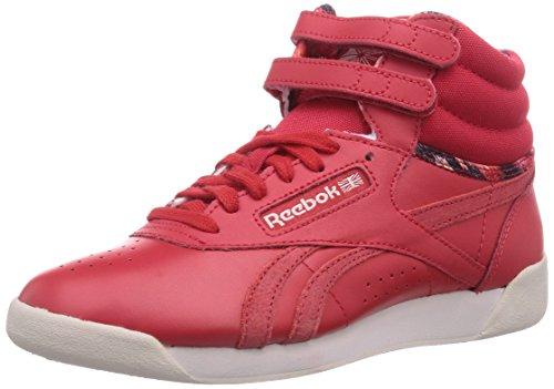 Reebok Freestyle Hi Graphics - Zapatillas de cuero para mujer rojo Rot (Red Rush/Moon White) 38.5