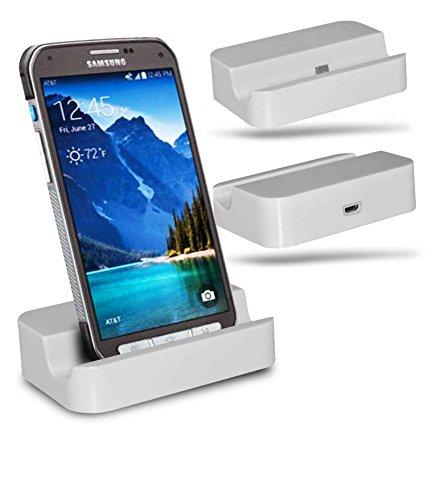 Samsung Galaxy S6 active SM-G890 Station d'accueil de bureau avec chargeur Micro USB support de chargement - White - By Gadget Giant®
