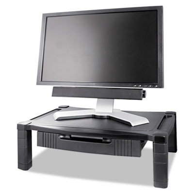 Kantek Wide Two-Level Stand With Drawer, Height-Adjustable,